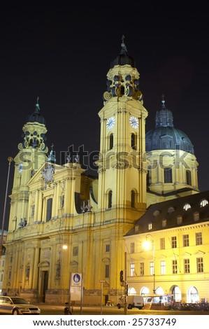 St. Cajetan Kirche, Theatine church, Munich, Bayern, Germany, night scene. - stock photo