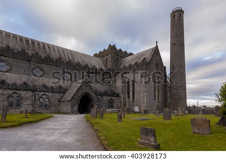 St Canice's Cathedral in Kilkenny - stock photo