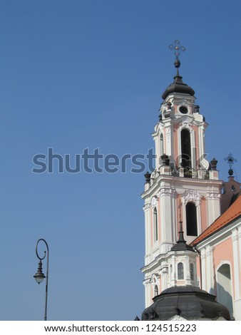 St. Catherine's Church in Vilnius (Lithuania), building is in the baroque style with the rococo-style decorations - stock photo