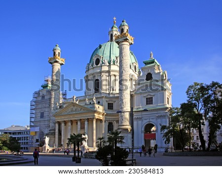 St. Charles's Church (Karlskirche) in Vienna, Austria - stock photo