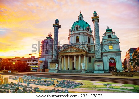 St. Charles's Church (Karlskirche) in Vienna, Austria at sunrise - stock photo