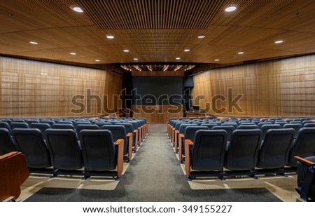 ST. CLOUD, MINNESOTA - NOVEMBER 20: Ringsmuth Family Auditorium in the Miller Learning Resources Center on the campus of St. Cloud State University on November 20, 2015 in St. Cloud, Minnesota - stock photo