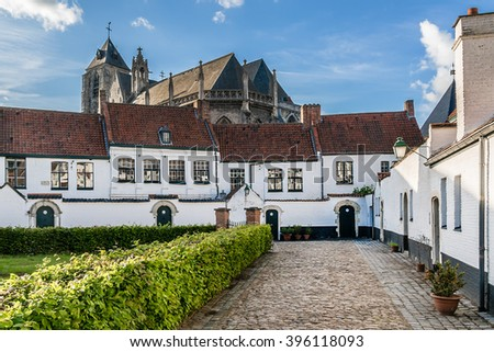 St Elisabeth Beguinage of Kortrijk consists 40 small houses dating to 17th century - UNESCO World Heritage Site. Kortrijk (Courtrai, Courtray) - Belgian city located in Flemish province West Flanders. - stock photo