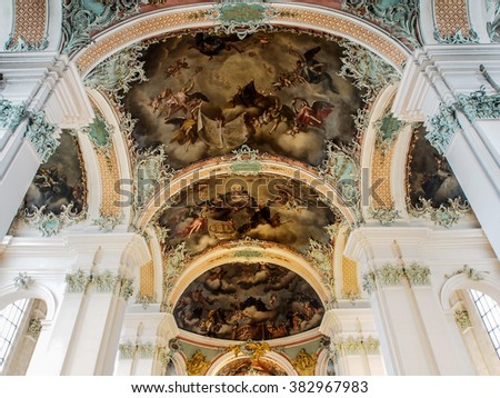 ST GALLEN, SWITZERLAND - DEC 31, 2015: Beautiful interior decoration of Abbey of Saint Gall, St. Gallen, Switzerland. The abbey is one of the most important baroque monuments in Switzerland. - stock photo