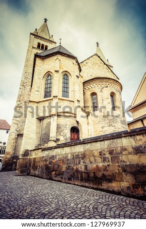 St. George Basilica in Prague Castle, view from Jirska street. Prague, Czech Republic - stock photo