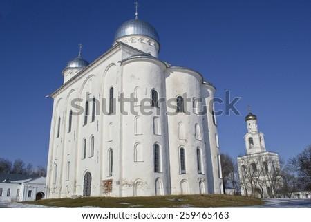St. George monastery of the 12th century. Veliky Novgorod, Russia. - stock photo
