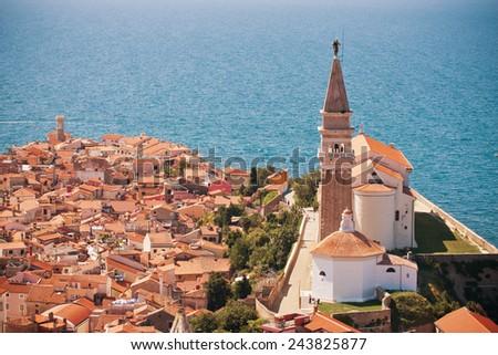 St. George's Parish Church in old town Piran - Slovenian - stock photo