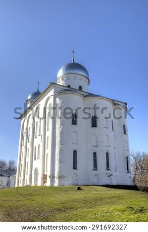 St. George's (Yuriev) Monastery. Veliky Novgorod, Russia - stock photo