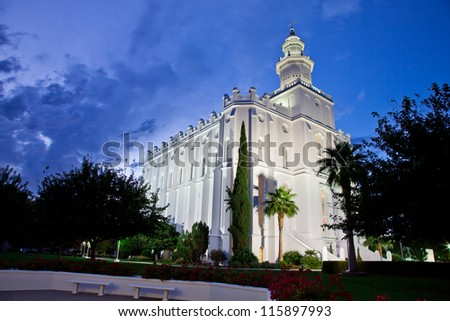 St George Temple at Night - stock photo