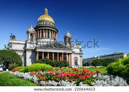 St. Isaac Cathedral in Saint-Petersburg, Russia. Sityscape - stock photo
