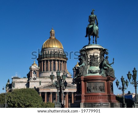 St Isaac's Cathedral and Monument, Saint Petersburg, Russia - stock photo