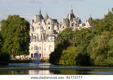 St. James Park with horse guards buildings and St. James pond, London, England - stock photo