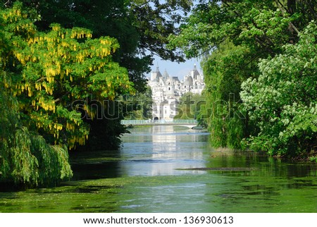 St James's Park London UK, with trees and lake - stock photo