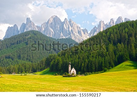 St Johann Church, Santa Maddalena, Val Di Funes, Dolomites, Italy - stock photo