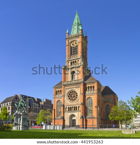 St John's Church (Johanneskirche), Protestant church at the Martin-Luther-Platz in Dusseldorf, Germany - stock photo