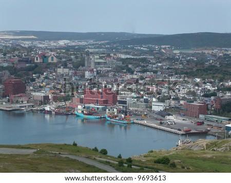 St John's Harbour and city.  Newfoundland.  Canada. - stock photo