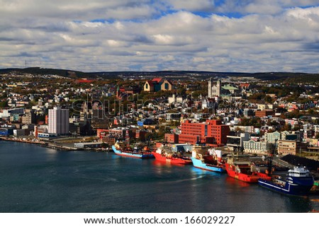 """St. John's Newfoundland. Visible are """"Basilica of St. John's the Baptist"""", """"The Rooms"""", """"St. Andrew's Church"""", """"St. John?s the Baptist Anglican Cathedral"""", Buildings and part of Harbor.  - stock photo"""