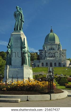 St.Joseph Oratory and St.Joseph monument, Montreal, Canada - stock photo