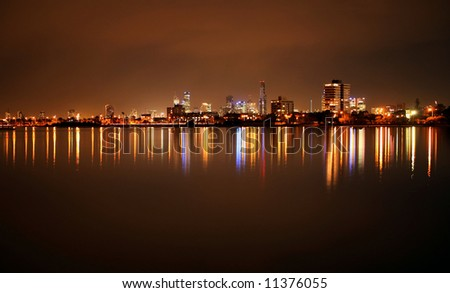 St  Kilda  beach  coastline at night - stock photo