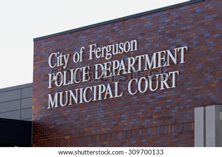 ST.LOUIS - AUGUST 21: The Ferguson Police Department in St. Louis, Missouri on August 21 2015. The department has been the subject of continued controversy following the killing of Michael Brown. - stock photo