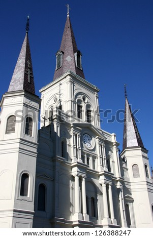 St. Louis Cathedral in Jackson Square in the city of New Orleans, Louisiana with deep blue winter sky - stock photo