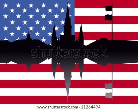 St Louis Cathedral Jackson Square New Orleans with American flag JPG - stock photo