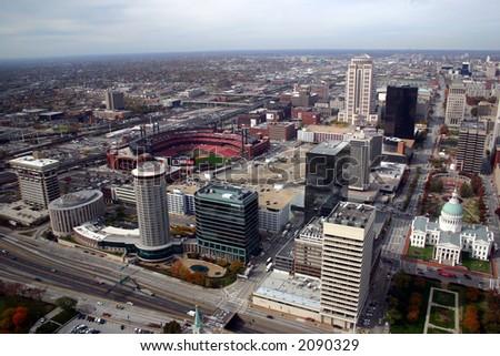 st. louis downtown aerial southwest - stock photo