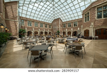 ST. LOUIS, MISSOURI - MAY 28: Law building atrium on the campus of Washington University on May 28, 2015 in St. Louis, Missouri - stock photo