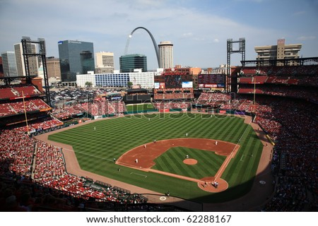 ST. LOUIS - SEPTEMBER 18: A late season baseball game at Busch Stadium between the Cardinals and San Diego Padres, with both teams fighting for a playoff berth, on September 18, 2010 in St. Louis. - stock photo