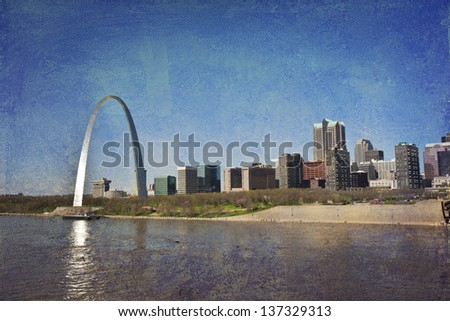 st. Louis skyline along the Mississippi River - stock photo