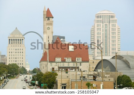 St. Louis skyline down Market Street with view of Gateway Arch and Union Station, Missouri - stock photo