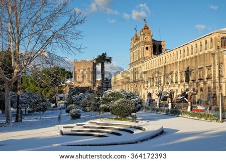 St. Lucy Monastery and Norman Castle of Adrano under the snow, Sicily  - stock photo