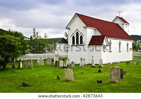 St. Luke's Anglican church and cemetery in Placentia Newfoundland, Canada - stock photo