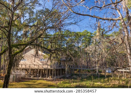 St. Marks National Wildlife Refuge  Visitor Center near Tallahassee, Florida. Established in 1931, this is one of the oldest wildlife refuges in the USA. - stock photo