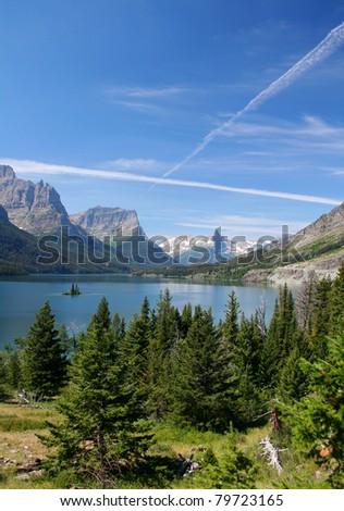 St. Mary Lake - Glacier National Park, Montana - stock photo