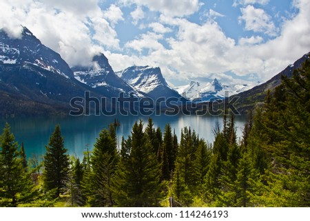 St Mary lake in Glacier National Park in Montana, USA - stock photo
