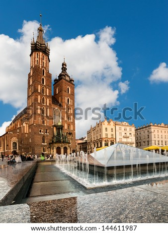 St. Mary's Gothic Church (Mariacki Church) in Krakow, Poland - stock photo