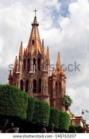 St Michael Cathedral- San Miguel de Allende, Mexico - stock photo