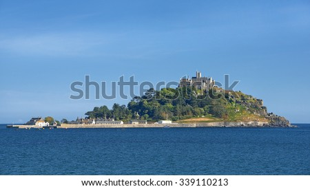 St Michael's Mount with castle and chapel, small tidal island in Mount's Bay, Cornwall, United Kingdom - stock photo