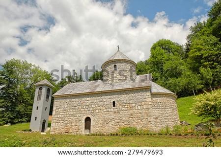 St. Michael The Archangel Orthodox Monastery on Tara River, Montenegro  - stock photo