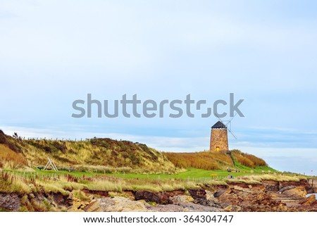 St Monans coastal windmill in the East Neuk of Fife area, Scotland. - stock photo