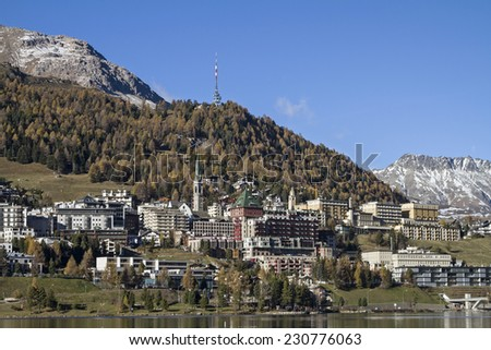 St. Moritz - exclusive ski resort in the Engadine with Moritz lake - stock photo