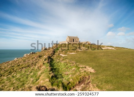 St Nicholas' Chapel on the Island at St Ives in Cornwall - stock photo