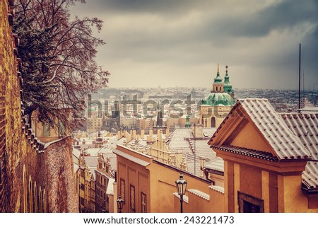 St.Nicholas church in Prague, Czech republic, beautiful architecture in baroque style, wonderful vintage cityscape in the winter  - stock photo