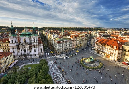 St. Nicholas Church, Old Town Square in Prague, Czech Republic. - stock photo
