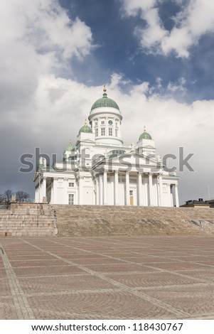 St Nicholas Lutheran Cathedral in the centre of Helsinki, the capital of Finland. - stock photo