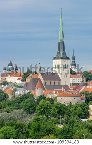 St Olaf's Church, Tallinn, Estonia - stock photo