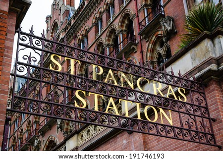 St Pancras International Railway Station sign. London, UK. A gateway to Europe.  - stock photo