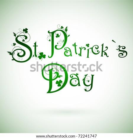 St.Patrick day greeting with shamrocks - stock photo