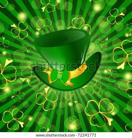 St.Patrick day theme: hat with bow over green background with shamrocks - stock photo